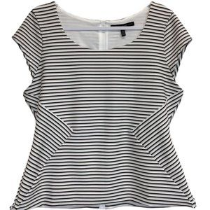 White House Black Market Striped Top with Back Zip